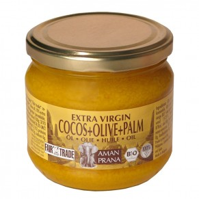 Coconut oil with olive and red palm, 325ml. Amanprana