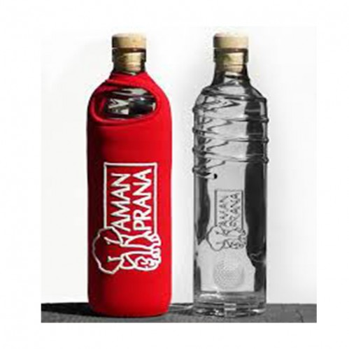 Drinking Bottle Eco Respekt, glass, red, 500ml
